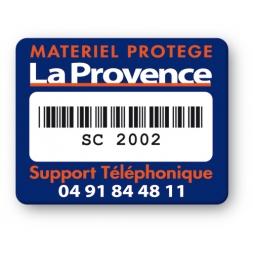 strong tamper proof asset tag la provence logo barcode en