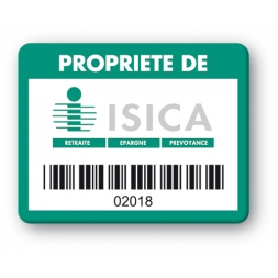 custom strong tamper proof asset tag isica logo barcode