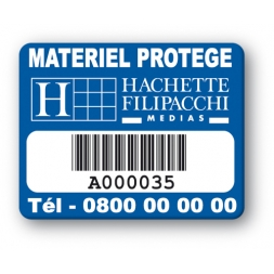 custom strong tamperproof asset tag hachette filipacchi logo barcode en