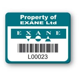 custom strong tamperproof asset tag exane logo barcode en