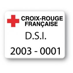 custom strong tamperproof asset tag croix rouge francaise logo en