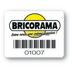 custom strong tamperproof asset tag bricorama logo barcode en