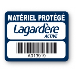 plaque inviolable personnalisee lagardere codebarre