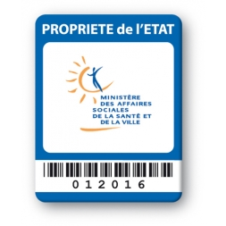 custom strong tamper proof asset tag properiete etat barcode en