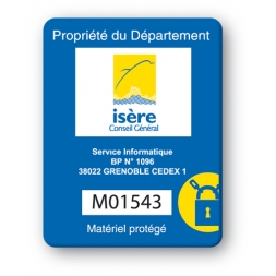 custom strong tamper proof asset tag isere conseil general logo en