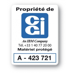 plaque inviolable personnalisee logo propriete cgi