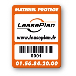 custom strong tamper proof asset tag leaseplan logo barcode en