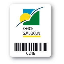 custom strong tamper proof asset tag region guadeloupe logo barcode en
