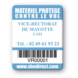 plaque inviolable personnalisee logo vice rectorat mayotte codebarre