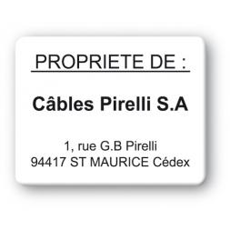 plaque inviolable impression noire personnalisee cables pirelli sa