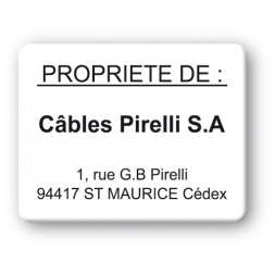 black print custom strong tamper proof asset tag cables pirelli sa en