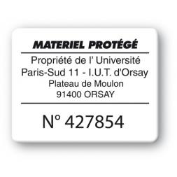plaque inviolable impression noire personnalisee materiel protege reference produit