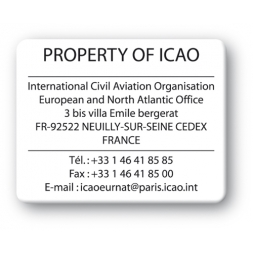 plaque inviolable personnalisee property of icao impression noire reference