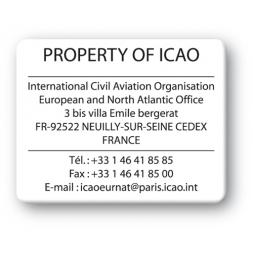 black print custom strong tamper proof asset tag property of icao reference en