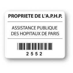 custom strong tamper proof asset tag assistance publique hopitaux paris barcode en