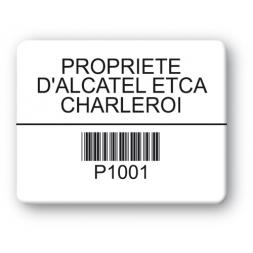 plaque inviolable personnalisee alcatel etca charleroi impression noire codebarre