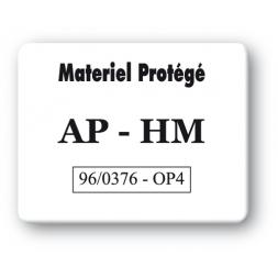 plaque inviolable impression noire personnalisee materiel protege ap hm