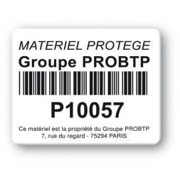 black print custom strong tamper proof asset tag groupe probtp barcode en