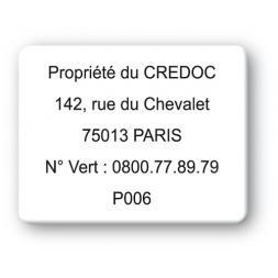 plaque inviolable personnalisee propriete credoc reference