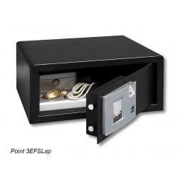 black opened personal safe for laptop en
