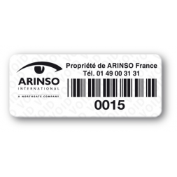 anti fraud polyester black print void label with barcode en