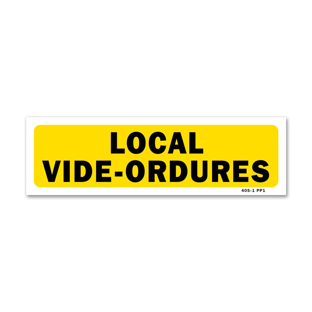 "Panneau indication ""local vide-ordures"""