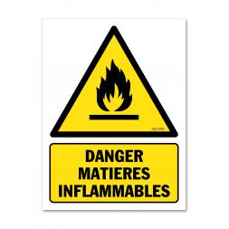 Panneau danger picto matières inflammables
