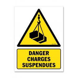 Panneau danger picto charges suspendues