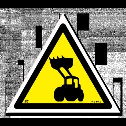 Panneau indication picto engins de chantier danger