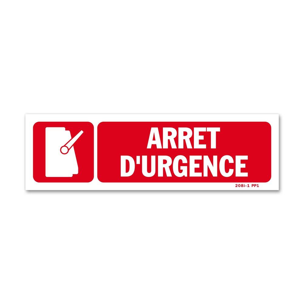 """Panneau avertissement picto """"arrêt d'urgence"""""""