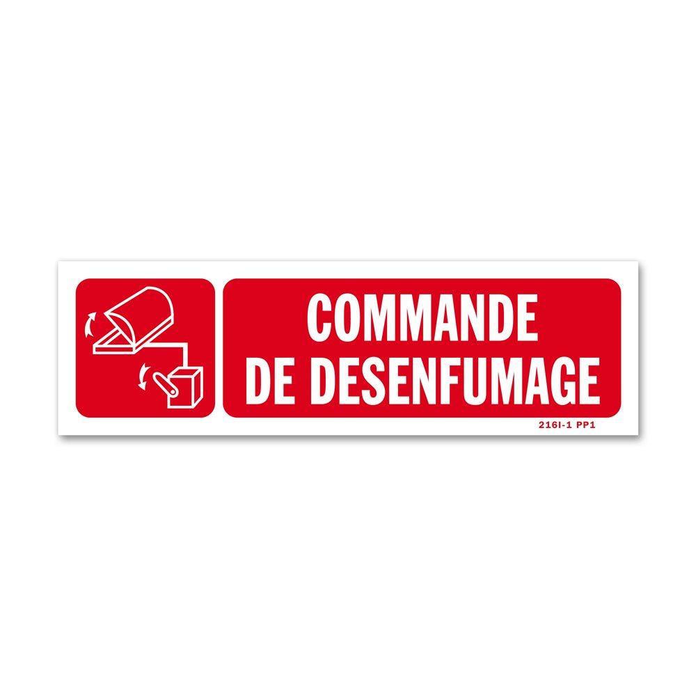 """Panneau avertissement picto """"commande évacuation fumées"""""""
