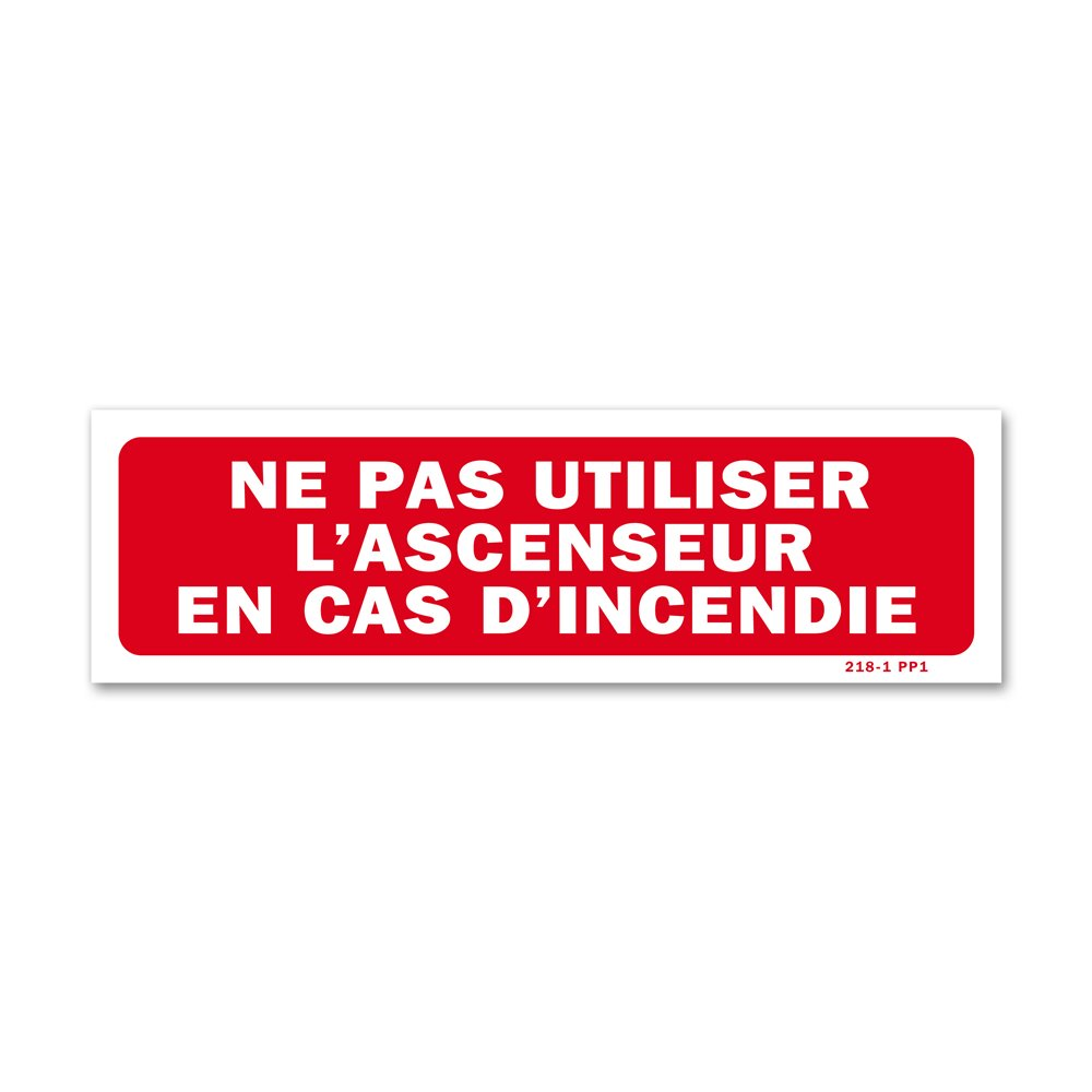"""Panneau interdiction """"ne pas utiliser ascenseur en cas incendie"""""""