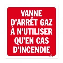 """Panneau avertissement """"vanne d'arrêt gaz"""""""