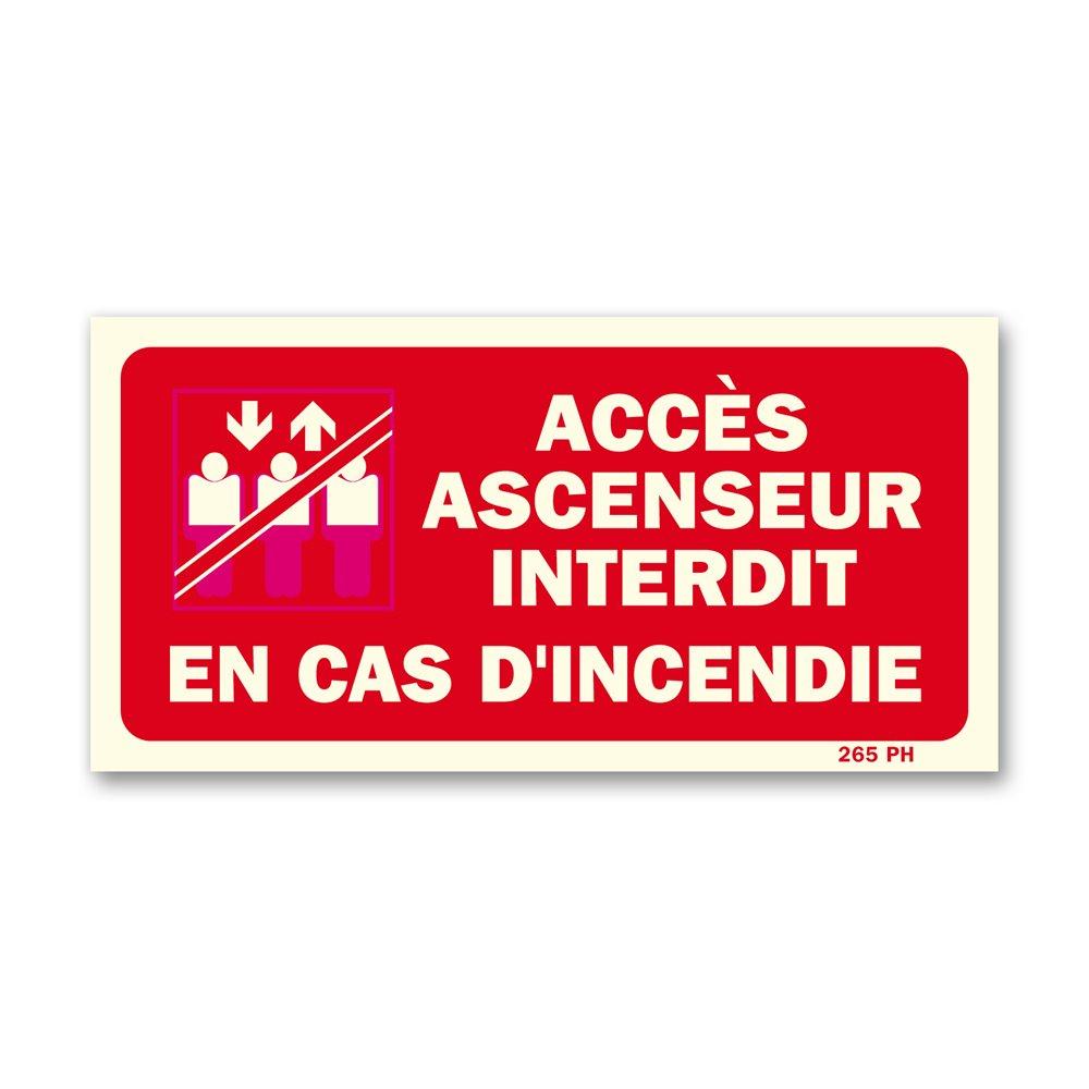 """Panneau interdiction picto ascenseur """"interdit en cas d'incendie"""""""