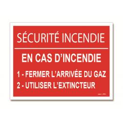 """Panneau avertissement """"sécurité incendie"""""""