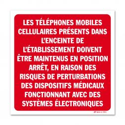 """Panneau avertissement """"téléphone à l'arrêt hopitaux"""""""