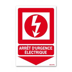 """Panneau avertissement picto """"arrêt d'urgence électrique"""""""