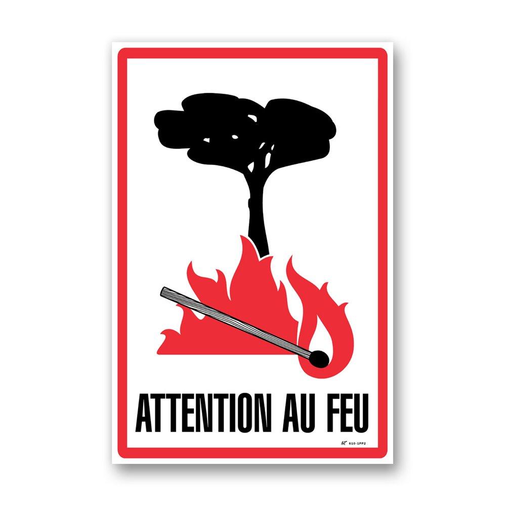 """Panneau avertissement picto """"attention au feu"""""""