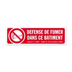 """Panneau avertissement picto """"défense de fumer dans ce batiment"""""""