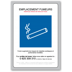 """Panneau avertissement picto """"emplacement fumeurs decret 2006"""""""