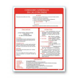 """Consigne générale """"consigne incendie prevention"""""""