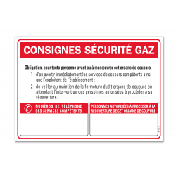 """Consigne spécifique """"consigne de sécurité gaz"""""""