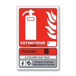Panneau lutte incendie classe feu B