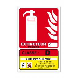 Panneau lutte incendie classe feu D