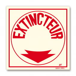 """Panneau lutte incendie """"extincteur"""" flèche"""