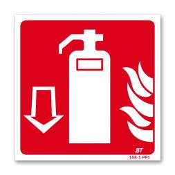 Panneau lutte incendie picto extincteur flamme flèche