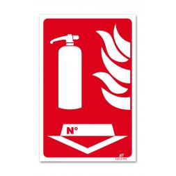 """Panneau lutte incendie picto extincteur flamme """"n°"""""""