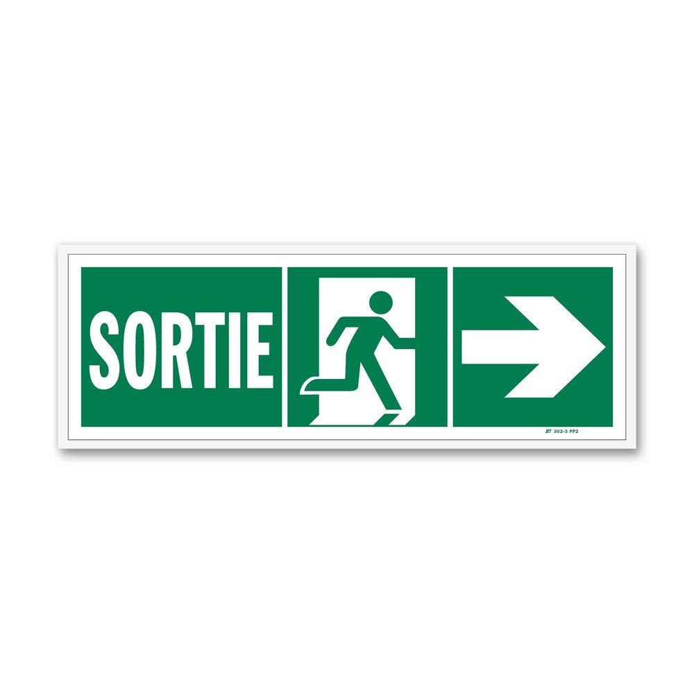 """Panneau évacuation """"sortie"""" + picto vers porte droite"""