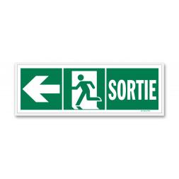 """Panneau évacuation """"sortie"""" + picto vers porte gauche"""