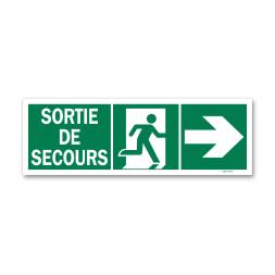 """Panneau évacuation """"sortie secours"""" + picto porte droite photoluminescent"""